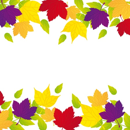 autumn leaves with space for copy over white background. Stock Vector - 13338850