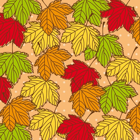 cute autumn leaves background  Stock Vector - 13338375