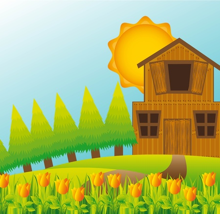 beautiful landscape with barn with tulips and trees.  Stock Vector - 13338576