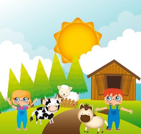 children with animals farm, background.  Stock Vector - 13338857