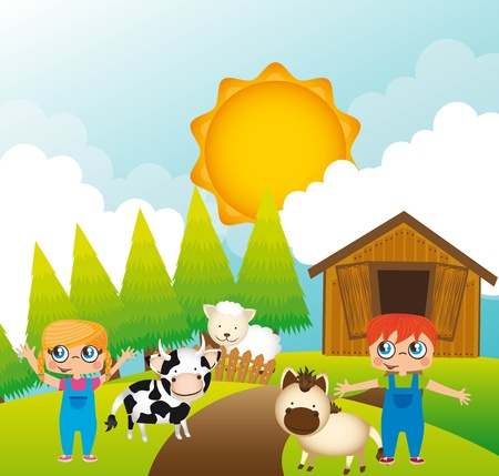 cattle grazing: children with animals farm, background.