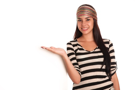 Young woman looking at the camera, arms outstretched over white background Stock Photo - 13439315