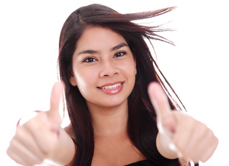 woman looking at the camera with ok expression photo