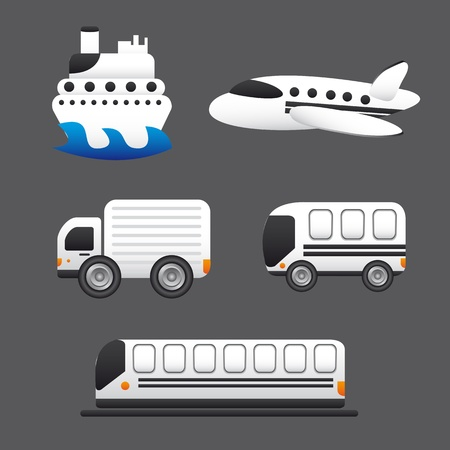 transportation icons isolated over gray background.  Stock Vector - 13439076