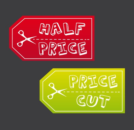 half price: half price and price cut tag with scissor.  Illustration