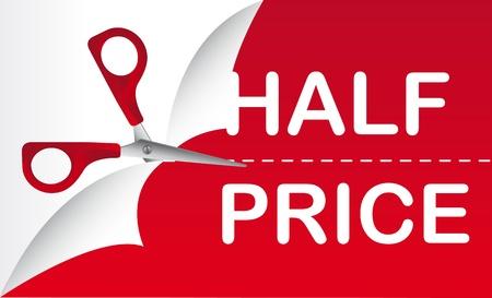 half and half: mitad de precio con tijera de color rojo, de fondo.