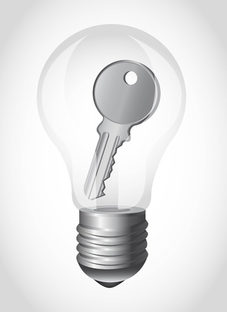gray bulb: light bulb with key over gray background.