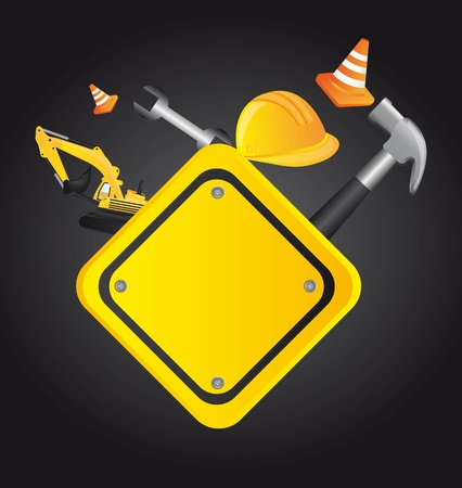 construction helmet: elements of construction over black background.  Illustration
