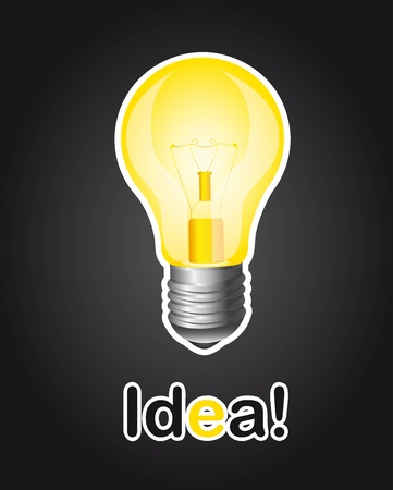 light bulb over black background, idea. Stock Vector - 13439029