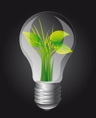 filament: ecology light bulb over black background.  Illustration