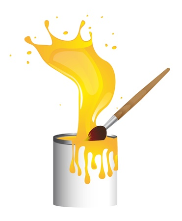 wet paint: paintbrush with paint bottle, yellow splash.