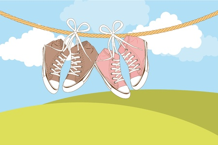 cute sneakers over landscape with mountains. Stock Vector - 13439242