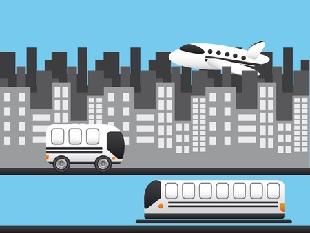 transportation with buildings over blue background. Stock Vector - 13439040