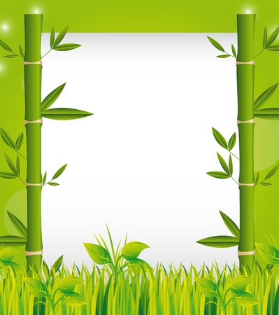 bamboo over grass with space for copy, background.  Vector