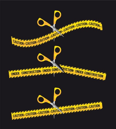 under construction tape with scissor over black background. Vector