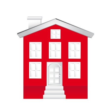 traditional house: red house isolated over white background.