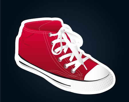 red sneaker  over black background.