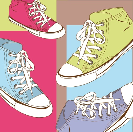 youth sports: cute sneakers backgroud, pastels. Illustration