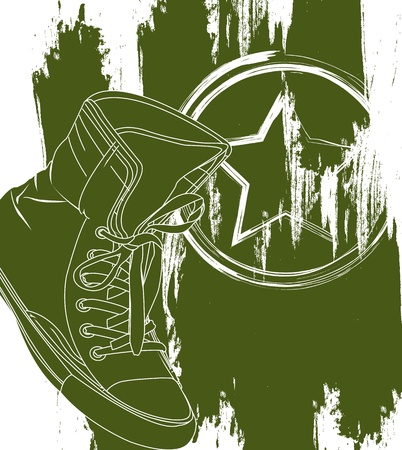 green military shoes over white background.  Vector