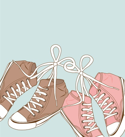 cute sneakers over blue background. vector illustration