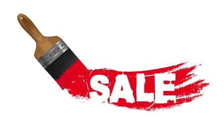 painting jobs: sale paint with brush isolated over white background.