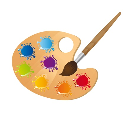 Wooden art palette with paintbrush over white background. Vector