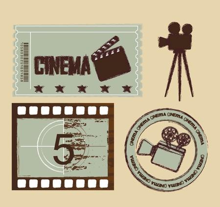 grunge ticket met afdichting en streep film, cinema. Vector Illustratie