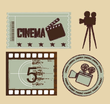 movie projector: grunge ticket with seal and stripe film, cinema. Illustration