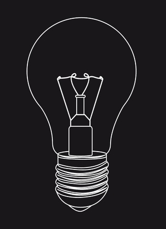 incandescent: silhouette light bulb over black background.