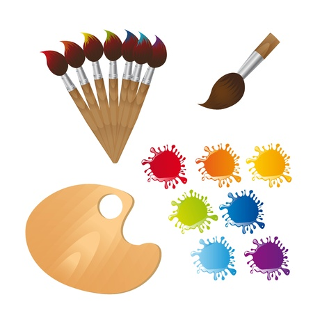 'paint brush': paint brushes with wooden palette and paint.