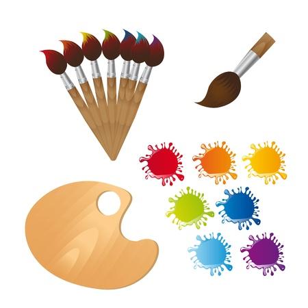 art and craft equipment: pinceles con paleta de madera y pintura.