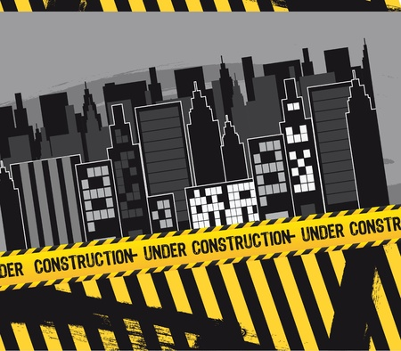 city with under construction tape. Vector