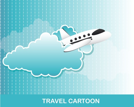 airplane with clouds cartoon, background.   Vector