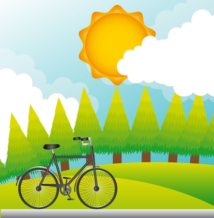 bike over beautiful landscape, background.   Stock Vector - 13439142