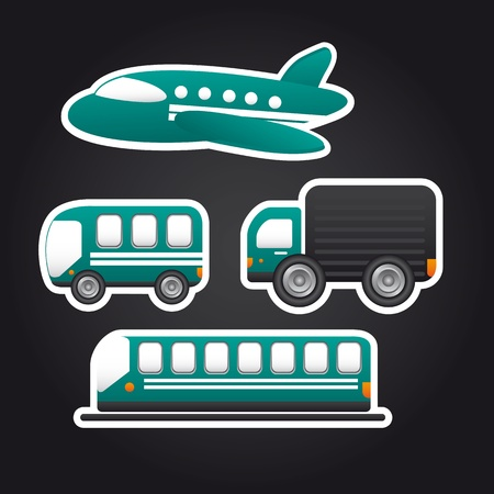 transportation icons over black background.  Vector
