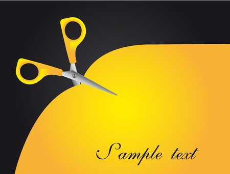 yellow scissor with space for copy, background. Stock Vector - 13439028