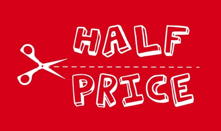 half price: half price with silhouette scissor over red background. Illustration