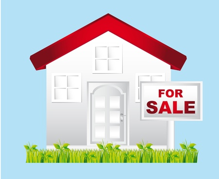 for sale sign: white house with for sale sign over blue background.