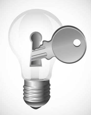 light bulb with key over gray background. Stock Vector - 13439030