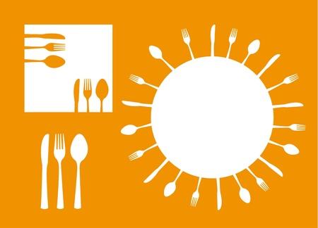Besteck Silhouette mit Platz für Kopie über orange Hintergrund.