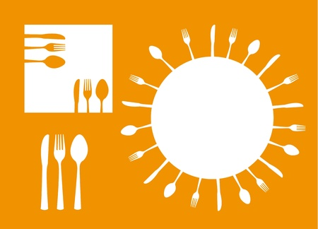 silhouette cutlery with space for copy over orange background.