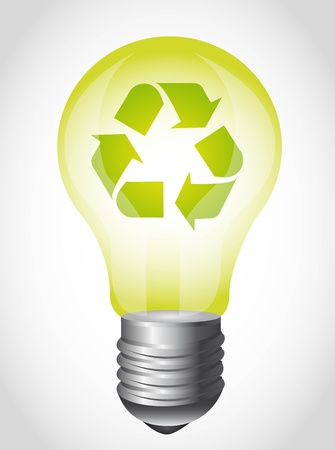gray bulb: green light bulb with recycle sign over gray background. Illustration