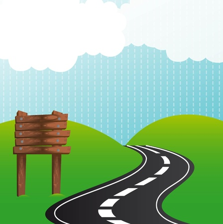road with wooden sign over mountains. Stock Vector - 13440139