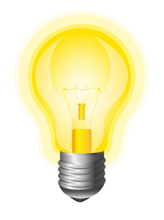 yellow bulb isolated over white background.  Vector