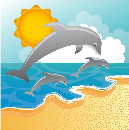dolphins over sea, beach background. Vector