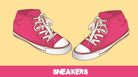 pink cute sneakers over beige background.  Vector
