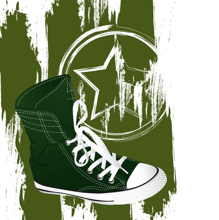 plimsolls: grunge military sneakers over white background.  Illustration