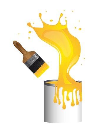 yellow brush paint with paint bottle Stock Vector - 13439593