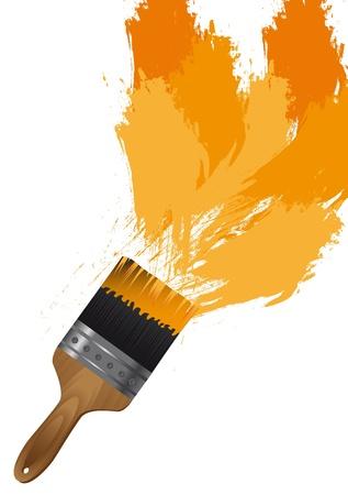 なでる: 白い背景上のオレンジ色の塗料とブラシします。