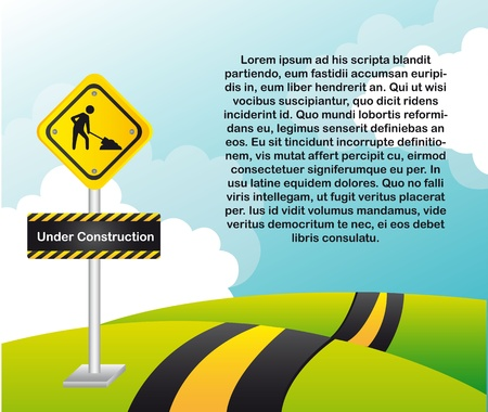 construction sign over landscape with space for copy. Stock Vector - 13439154